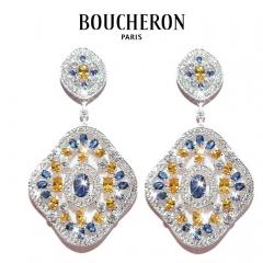Серьги Boucheron синий с желтым