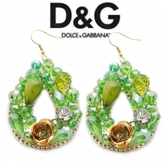 Серьги в стиле D&G зеленые