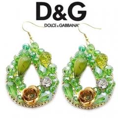 Серьги в стиле D&G зеленые