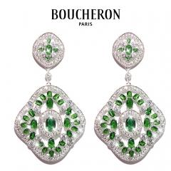 Серьги Boucheron зеленые