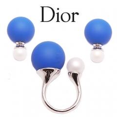 Пусеты и кольцо Диор синий и белый