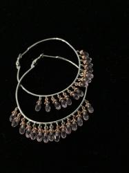Серьги кольца с розовыми кристаллами