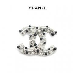 Брошь Chanel черный и жемчуг
