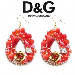 Серьги в стиле D&G красные