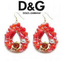 Серьги в стиле D&G красные