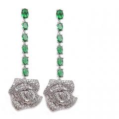 Серьги Розочки с зелеными камнями