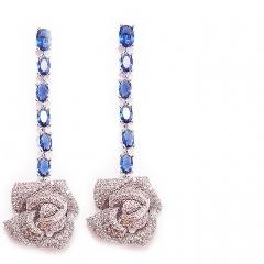 Серьги Розочки с синими камнями