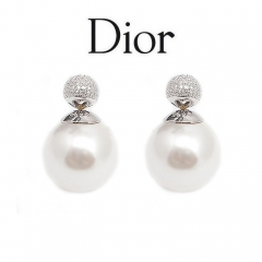 Серьги Mise En Dior жемчужные со стразами 925