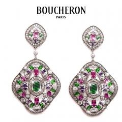 Серьги Boucheron розово зеленые