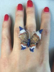 Кольцо Бабочка синяя 925