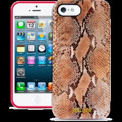 Чехол силиконовый Just Cavalli для iPhone 5 Змеиный коричневый