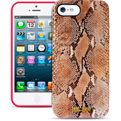 Чехол силиконовый Just Cavalli для iPhone 5S Змеиный коричневый