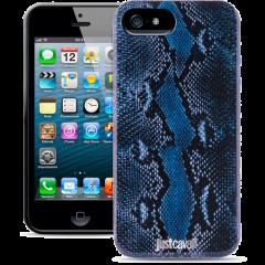 Чехол силиконовый Just Cavalli для iPhone 5 Змеиный синий