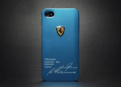 Чехол Ferrari для iPhone 4S голубой