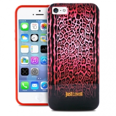 Чехол Just Cavalli для iPhone 5 леопард розовый