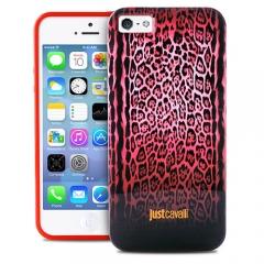 Чехол Just Cavalli для iPhone 5S леопард розовый