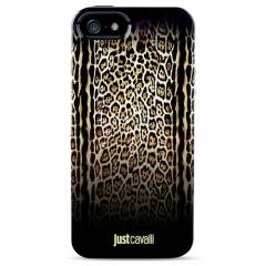 Чехол силиконовый Just Cavalli для iPhone 5S Леопард черный