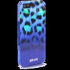 Чехол силиконовый Just Cavalli для iPhone 5S Леопард синий