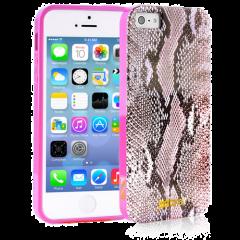 Чехол силиконовый Just Cavalli для iPhone 5S Змеиный розовый