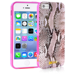 Чехол силиконовый Just Cavalli для iPhone 5 Змеиный розовый