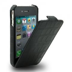Чехол-книжка Кожа крокодила для iPhone 4s черный лаковый