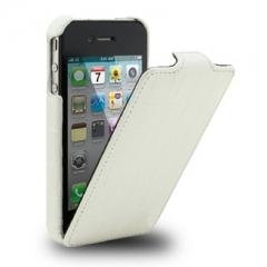 Чехол-книжка Кожа крокодила для iPhone 4s белый лаковый