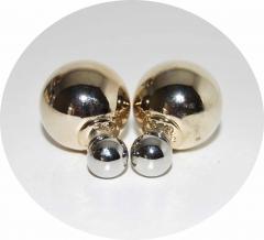 Серьги Mise En Dior зеркальные серебро и золото