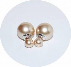 Серьги Dior жемчужные бежевые 925