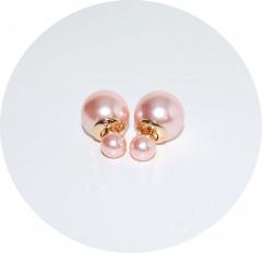 Пусеты шарики Dior жемчужные розовые