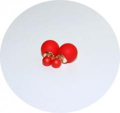 Пусеты Диор матовые красные