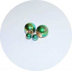 Серьги шарики зеленый перламутр