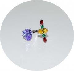 Кольцо с камнями сиреневый и красный