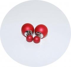 Серьги шарики матовые алые