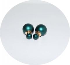 Серьги шарики матовые изумрудные