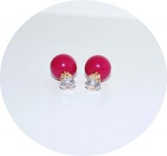 Серьги шарики малиновые с камнем