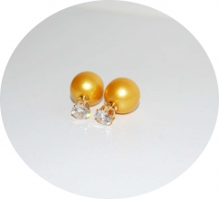 Серьги шарики золотистые с камнем