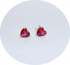 Серьги розовые сердечки