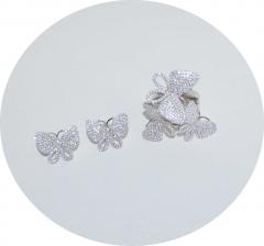 Комплект серьги и кольцо Бабочки