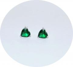 Серьги зеленые сердечки