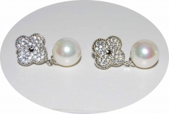 Сережки Van Cleef с жемчжиной серебряные