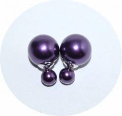 Серьги Dior темный фиолетовый жемчужный 925