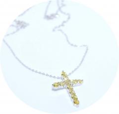 Крест в стиле Тиффани лимонный