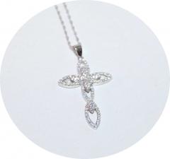 Кулон крест серебряный