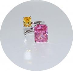 Кольцо с цирконами розовый и желтый