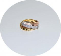 Серебряное тройное кольцо Cartier
