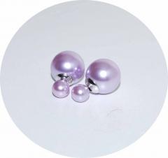 Серьги Dior лиловые жемчужные 925