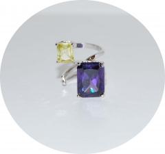Кольцо с камнями сиреневый и желтый