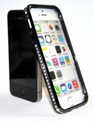 Бампер металлический со стразами для iPhone 4S серый