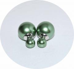 Серьги Dior зеленые жемчужные 925