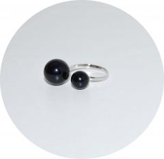 Кольцо серебряное Chanel черное